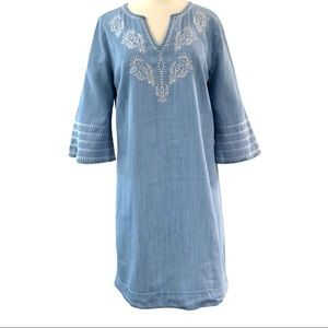 Cato Chambray Embroidered Neck Dress